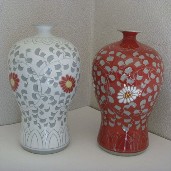 Pattern an chrysanthemum Chinaware Duad / Korean Grey Celadon Pottery / Vase !