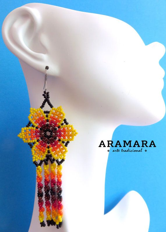 Mexicana Huichol cuentas naranja y roja flor pendientes por Aramara
