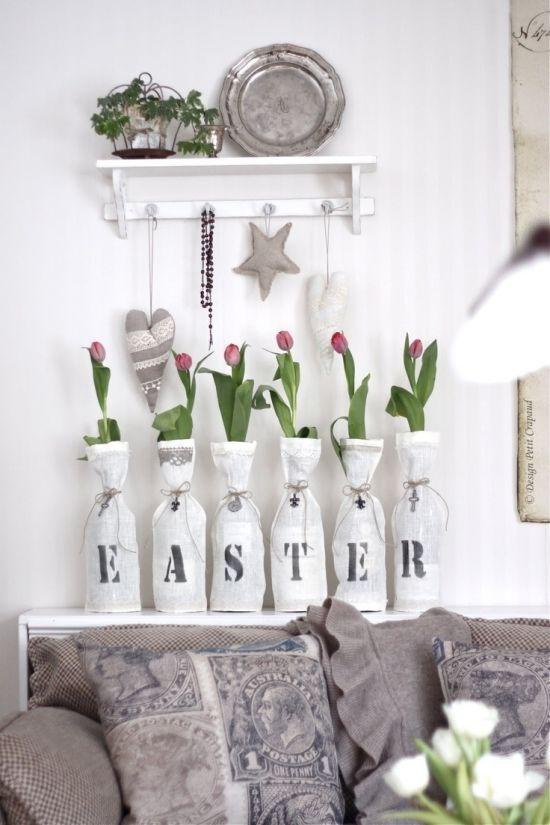 Ostern Dekor ideen Wohnzimmer küche Bastelzeit Papier Osterbasteln