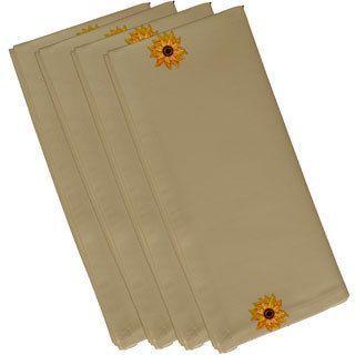 E by Design Brown Polyester 19x19 El Girasol Feliz Floral Print Napkin (Yellow)