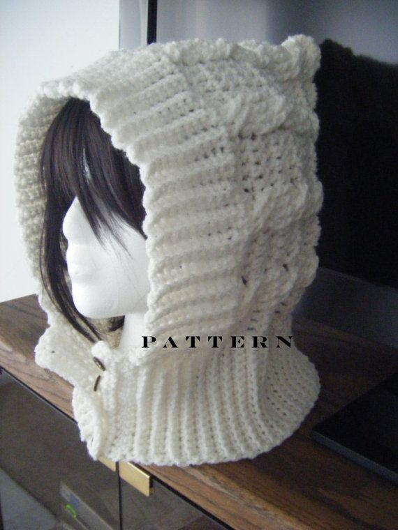 INSTANT DOWNLOAD Cables Crochet Hood or Scoodie Hat Scarf - Pattern