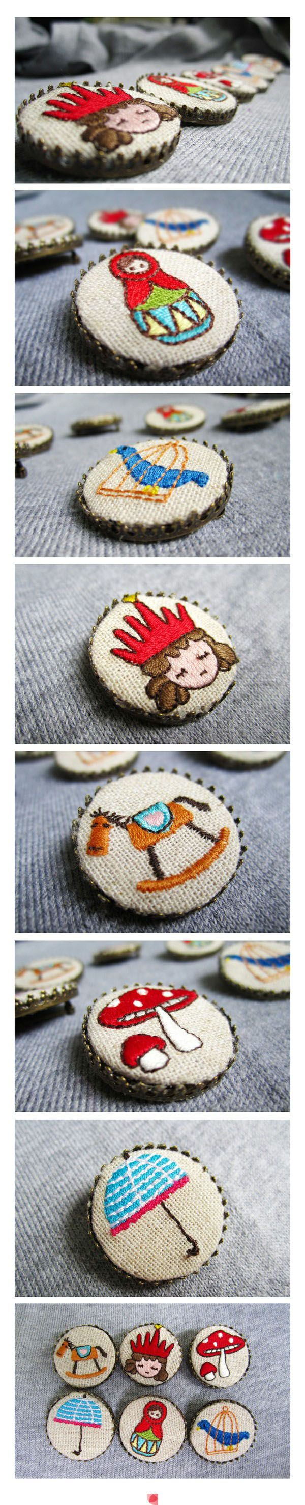 bottle cap embroidery - miniature