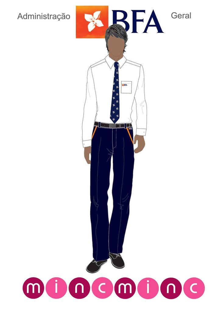 Projecto BFA Camisa de homem branca clássica com bolso logótipo bordado. Calças azuis com detalhas em laranja. Gravata personalizada com logótipo BFA.