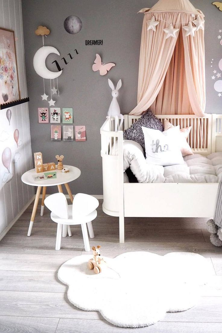 Inspiration from Instagram -A n d r e a @andrealingjerde - pastel girls room ideas, pink and grey girls room design, kidsroom decor, girls kidsroom, powder