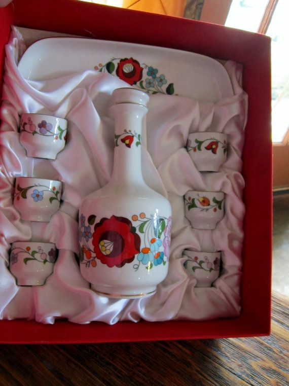 Kalocsa Hungary Hand Painted Porcelain Set.