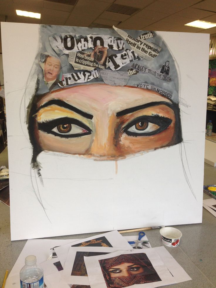 My GCSE canvas based around cultural society and how the government is tampering with our minds. You can really see but in her head dress it has newspaper articles from the elections. A final image of this piece is still to be posted
