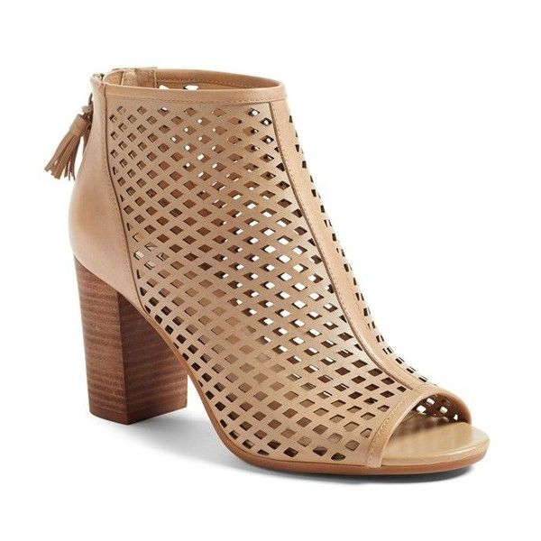 Women's Bp. Caat Open Toe Bootie ($90) ❤ liked on Polyvore featuring shoes, boots, ankle booties, nude leather, leather peep toe booties, peep-toe ankle booties, peep toe booties, perforated peep toe booties and leather boots