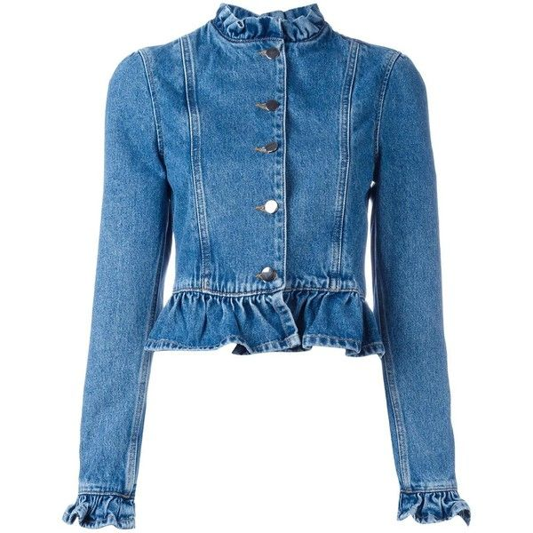 j.w.anderson Ruffle Jacket ($515) ❤ liked on Polyvore featuring outerwear, jackets, denim blue, denim jacket, ruffled denim jacket, jean jacket, blue denim jacket and blue jackets