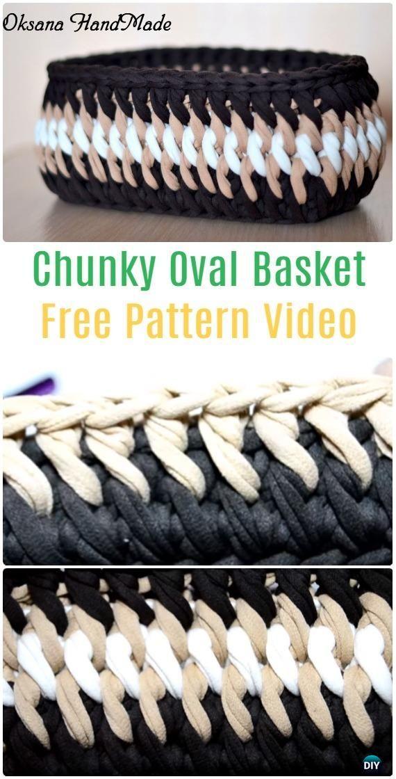 CrochetChunky Oval Basket Free Pattern Video