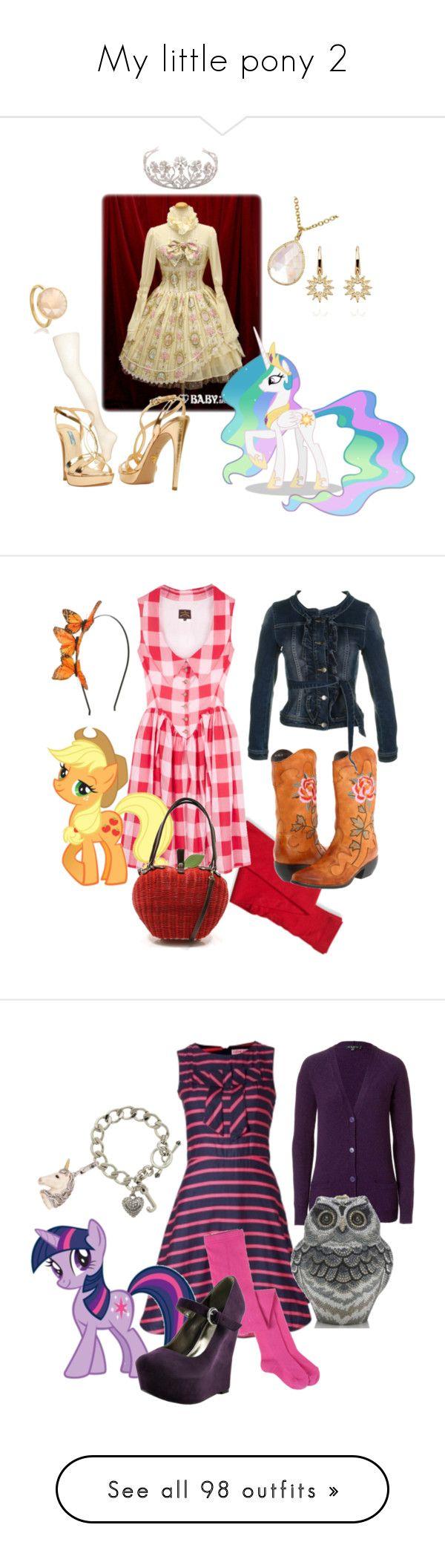 """My little pony 2"" by sweeetgirl ❤ liked on Polyvore featuring Coach, TIARA, Irene Neuwirth, Astley Clarke, Pretty Polly, Prada, lolita, art, applejack and my little pony"