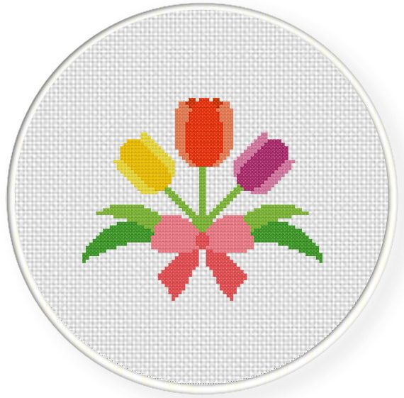 FREE Tulips in Ribbon Cross Stitch Pattern