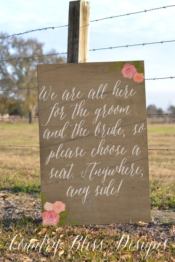 Pick a Seat Not a Side Wedding Sign Choose by countryblissdesigns