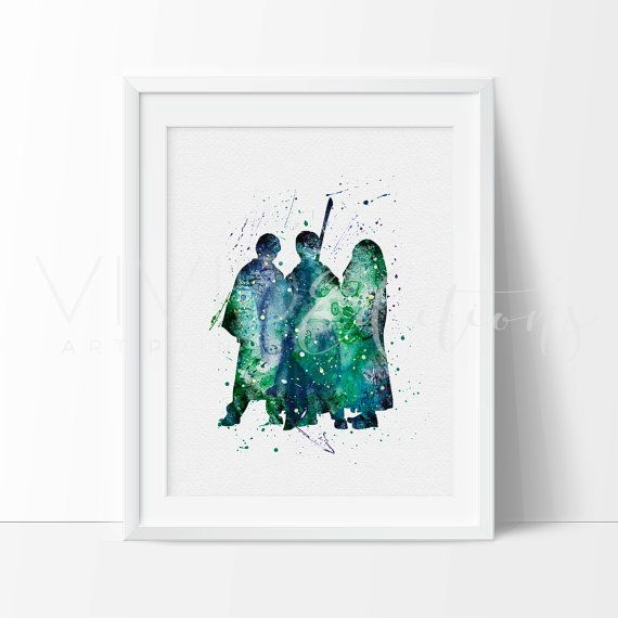 Harry Potter Poster, Ronald Weasley, Hermione Granger, Watercolor Poster, Digital Watercolor Art, Childrens Room Wall Art, Minimalist Art, Home or