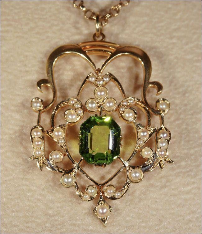 Antique Edwardian Peridot and Pearl Pendant Lavalier, 15k Gold c. 1905