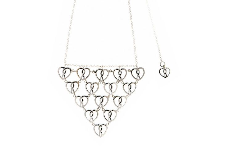 Sterling Silver Infinity Heart® Chandelier Pendant Necklace in Triangle Shape #Romantic