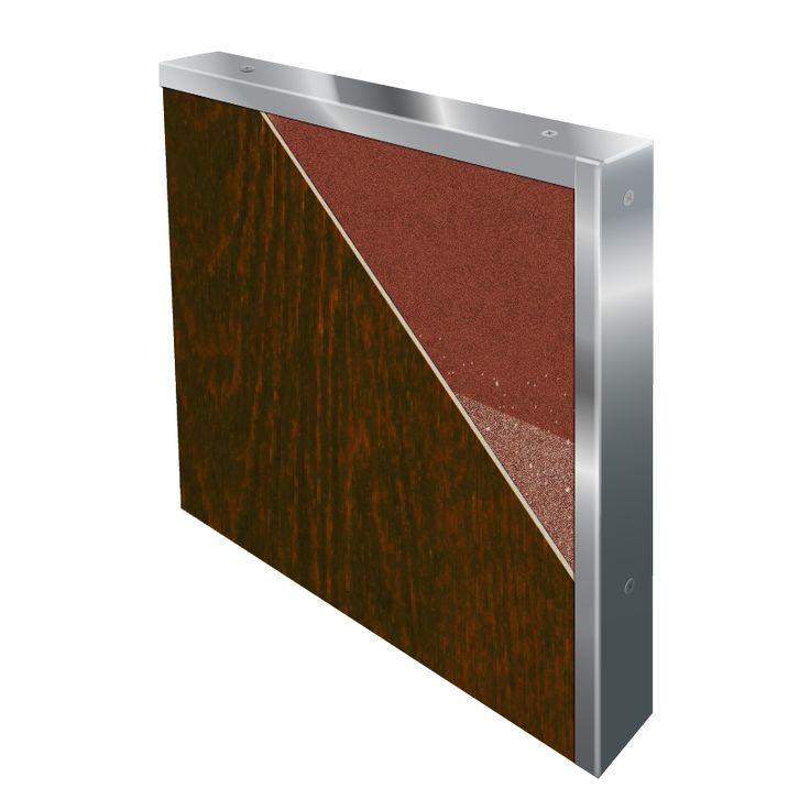 Woodgrain FRP/Stainless Steel Fire-Rated Door Cross Section