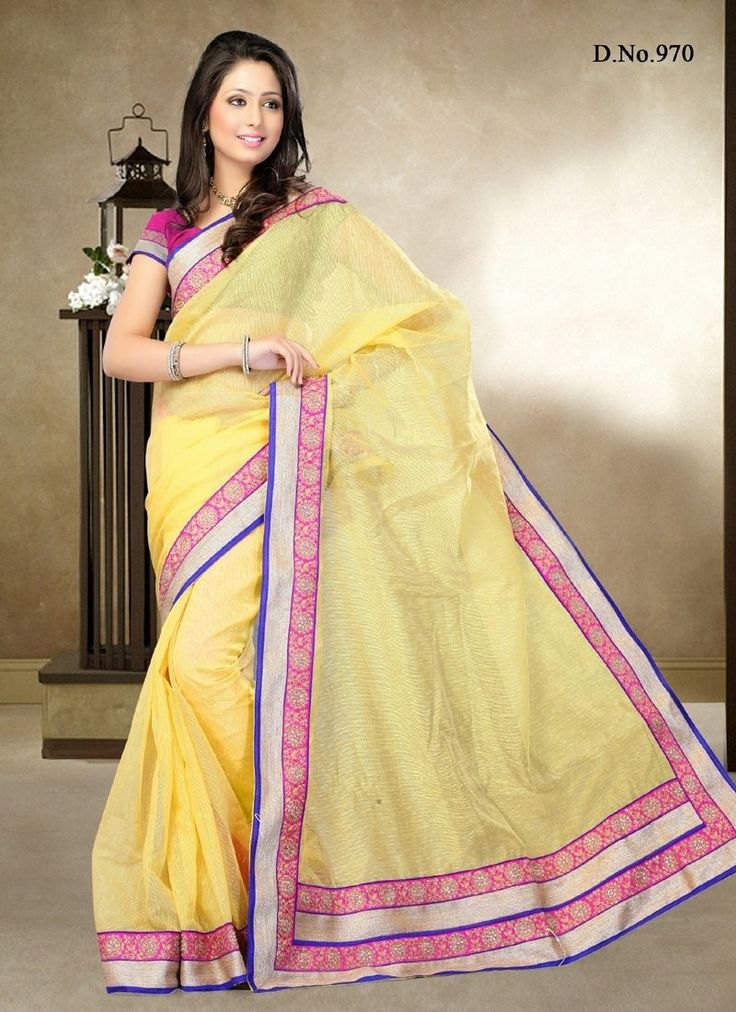 Yellow Silk Designer Saree