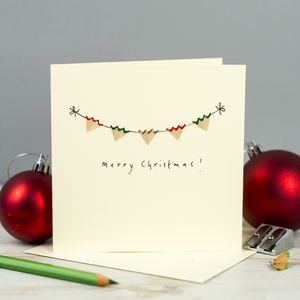 Merry Christmas Bunting Pencil Shaving Card