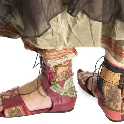 gypsy dreams ...fairy sandals embellished like a fragrant woodland floor great with hippy, folk, boho, and ethnic wear...make your own by adding applqued fabric panels to an old or ordinary pair of leather or fabric sandals , or ankle boots ..grimm and fairy fave find to make