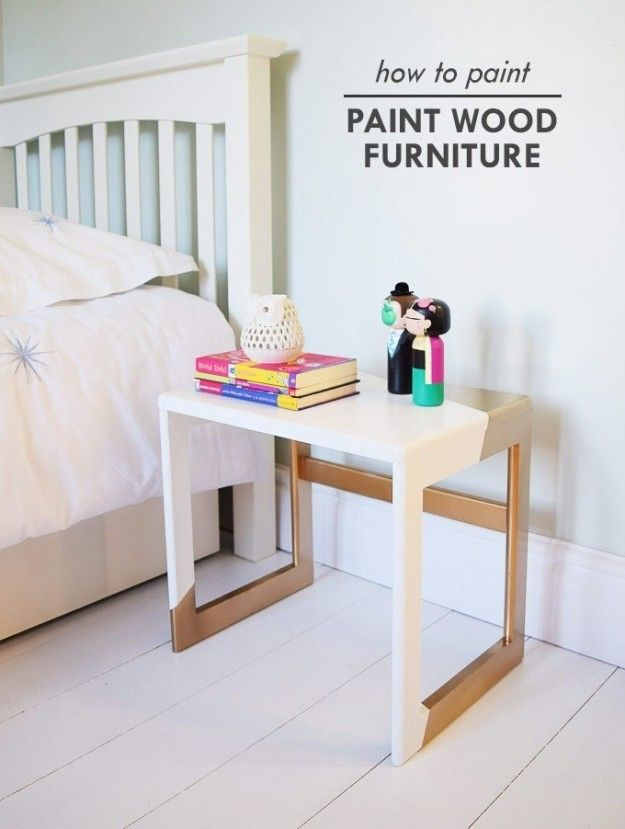 Update a plain discount store table or chair with a cool paint job thanks to this DIY on painting wood furniture. | Here's How To Paint Literally Everything