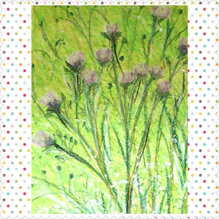 Bright flowers, oli pastel on paper 20x30