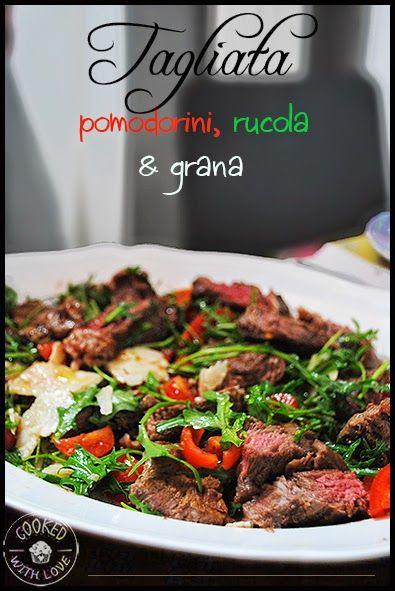 Tagliata di manzo con pomodorini, rucola e grana http://opinionidivaniglia.blogspot.it/2014/05/ricetta-tagliata-di-manzo-con.html