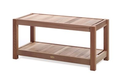 Sauna Bench. Free standing cedar bench with handy lower shelf for the shower room, sauna or by the pool side. #saunabench #bench #cedar