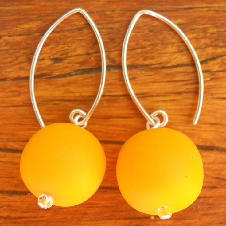 Yellow Ball Drop Earrings