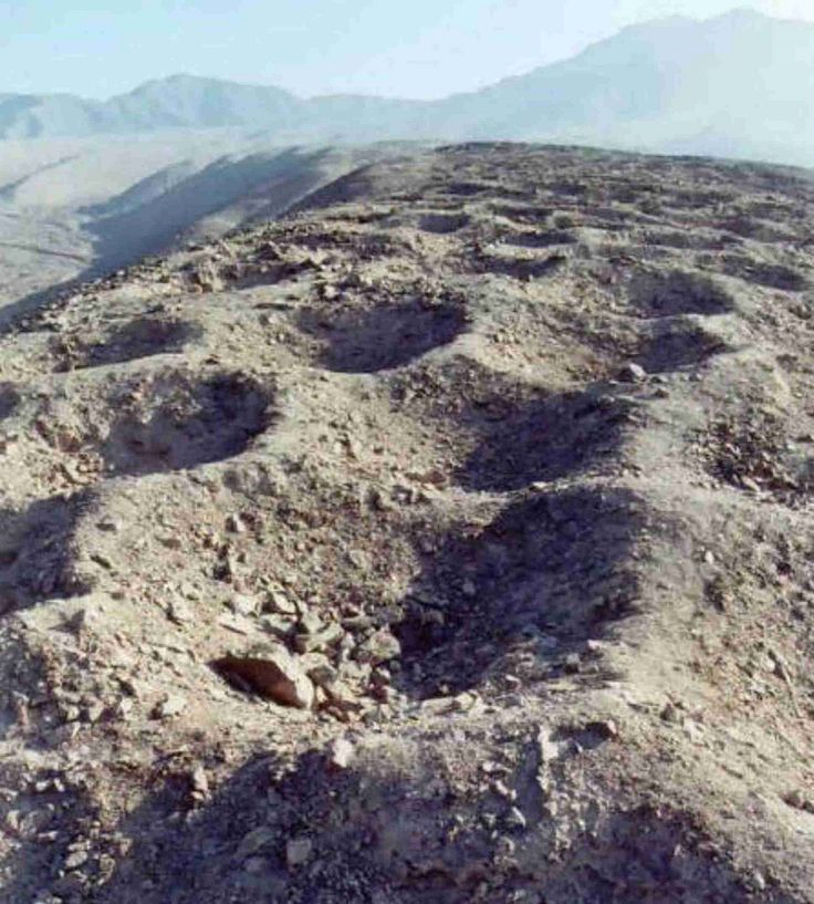 Band of Holes in Peru  The Band of Holes, is a series of about 5,000-6,000 man-sized holes found in the Pisco Valley on the Nazca Plateau in Peru. Local people have no idea who made them or how they were used. They stretch for 1.5km.