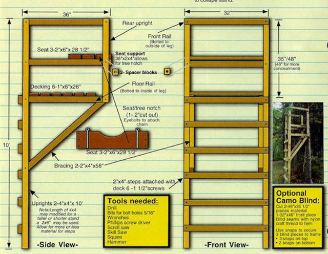 9 free diy deer stand plans bob scheierl 39 s free deer for Free tree stand