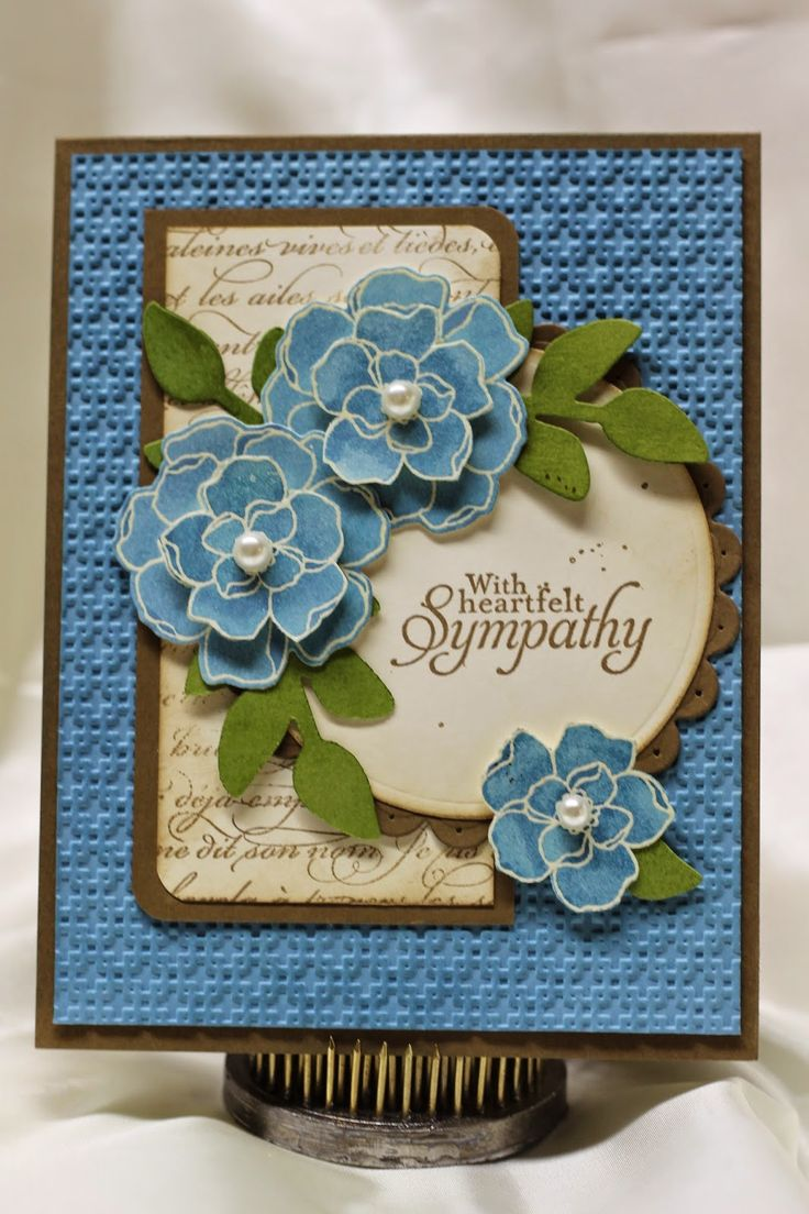 handmade sympathy card from ink, paper, scissors-stamp! ... three pretty layered flowers ... blue and vanilla with brown mats and green leaves ... like all the texture from the popped layers to the embossing on the background ... Stampin'Up!