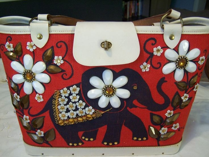 VINTAGE ENID COLLINS OF TEXAS ELEPHANT PEOPLE'S CHOICE CLOTH/JEWELED PURSE | eBay