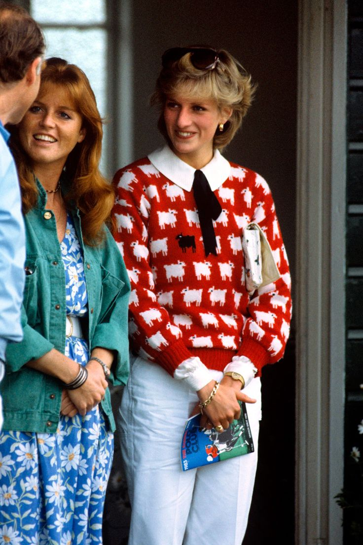 dianaspot:  Diana, in her sheep sweater, with Sarah Ferguson, later the Duchess of York, mid-1980s.