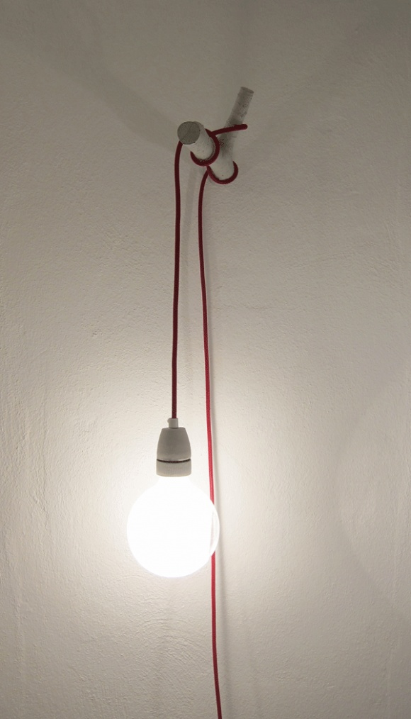 Hanging bulb - way to hang it that plugs into wall and doesn't require ceiling installation in case you want to rearrange the room later!