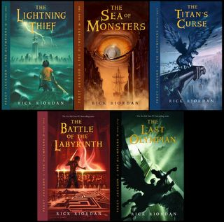 Percy Jackson and the Olympians, by Rick Riordian.  An excellent series for adults to enjoy but also one that gets kids reading! (is there anything better?)