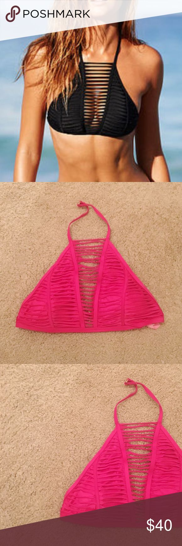 Victoria's Secret Hot Pink Strappy High-Neck Top NWT and in original packaging.  Victoria's Secret Hot Pink Strappy High-Neck Top. So sexy & a fun color to match your favorite bikini bottoms. Size L. No modeling/trades. Victoria's Secret Swim Bikinis