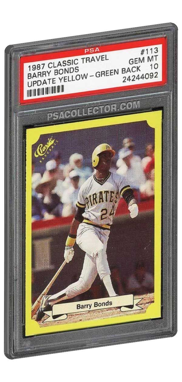 One Of Barry Bonds Most Rare And Collectible Rookie Cards Is The 1987 Classic Travel 113 Update Yellow With A Gree Barry Bonds Baseball Cards For Sale Cards