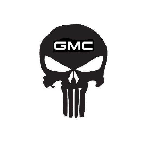 Punisher Gmc Skull Decal Choose Size And Color 007 Gmc Chevy