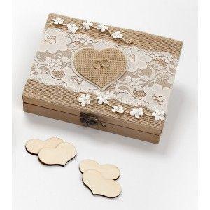 Ευχολόγιο ξύλινο κουτι με καρδιές και βέρες κωδ 201597
