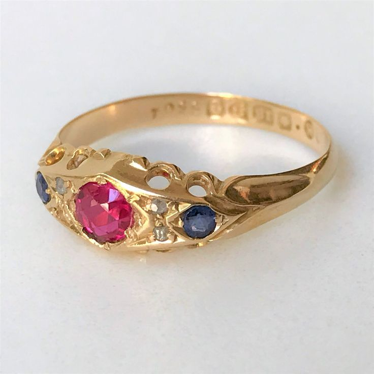 Edwardian 18ct Gold, Ruby, Sapphire & Diamond Ring, Chester