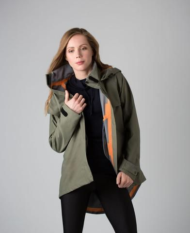 DRENCH COAT // AS BOLD AS Completely waterproof, with taped seams and a packable hood. Insulated for colder weather with a flattering dropped back hem for cycling, walking and staying active.