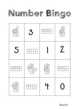 numbers bingo for kindergarten