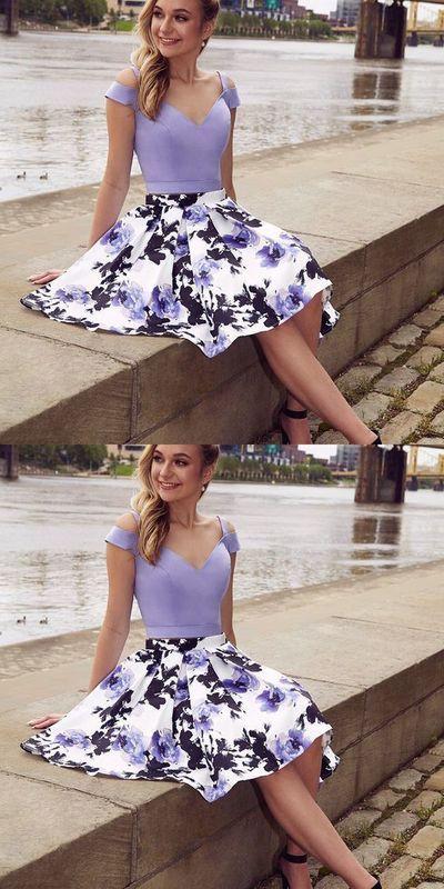 55184504d5 Cold Shoulder Two Piece A-Line Floral Print Short Prom Dress