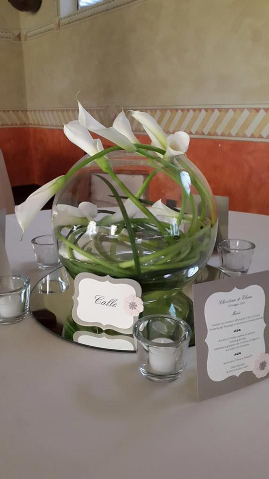 Centrotavola con Calle, matrimonio Villa Tacchi Padova Vicenza - tema matrimonio Flower Power - wedding planner Un Giorno su Misura