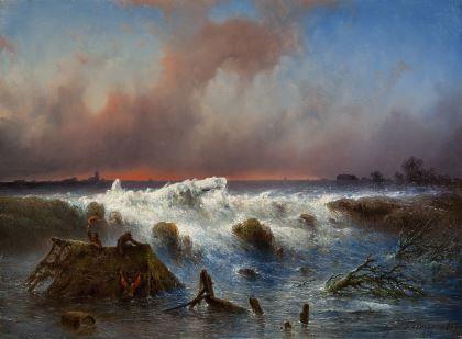 Johannes Hilverdink - De dijkdoorbraak in de Grebbedijk op 5 maart (1855)