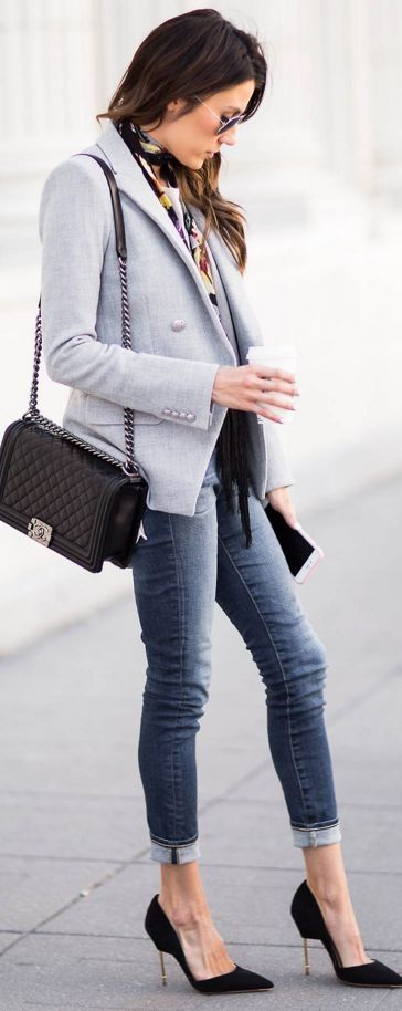 Grey blazer, taupe dolman top, black suede heels, chanel bag   These 3 Pieces Will Instantly Transform Your Basics   Hello Fashion #grey