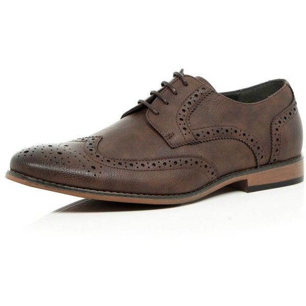 River Island Brown smart brogues ($25) ❤ liked on Polyvore featuring men's fashion, men's shoes, men's oxfords, sale, mens perforated shoes, mens brown wingtip shoes, mens brown brogue shoes, mens wing tip shoes and mens wingtip shoes