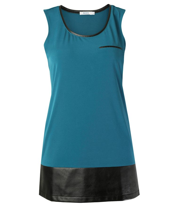 Pleather trim tank - Love this colour for Fall!