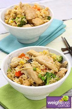 Healthy Asian Recipes: Chicken Fried Rice. #HealthyRecipes #DietRecipes #WeightlossRecipes weightloss.com.au