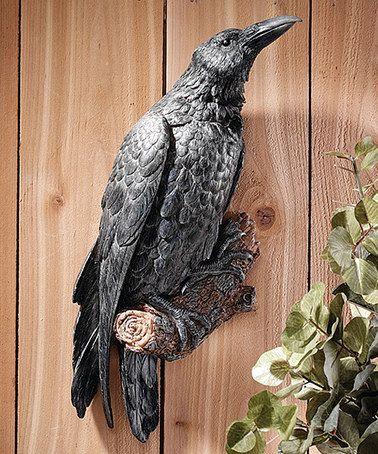 black ravens perch plaque - Raven Halloween Decorations